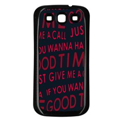 Motivational Phrase Motif Typographic Collage Pattern Samsung Galaxy S3 Back Case (black)