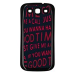 Motivational Phrase Motif Typographic Collage Pattern Samsung Galaxy S3 Back Case (Black) Front