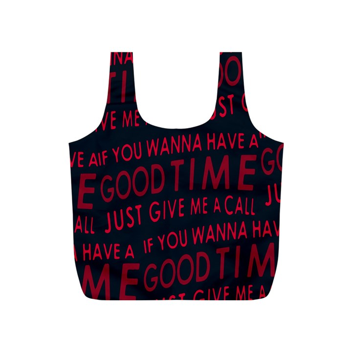Motivational Phrase Motif Typographic Collage Pattern Full Print Recycle Bag (S)