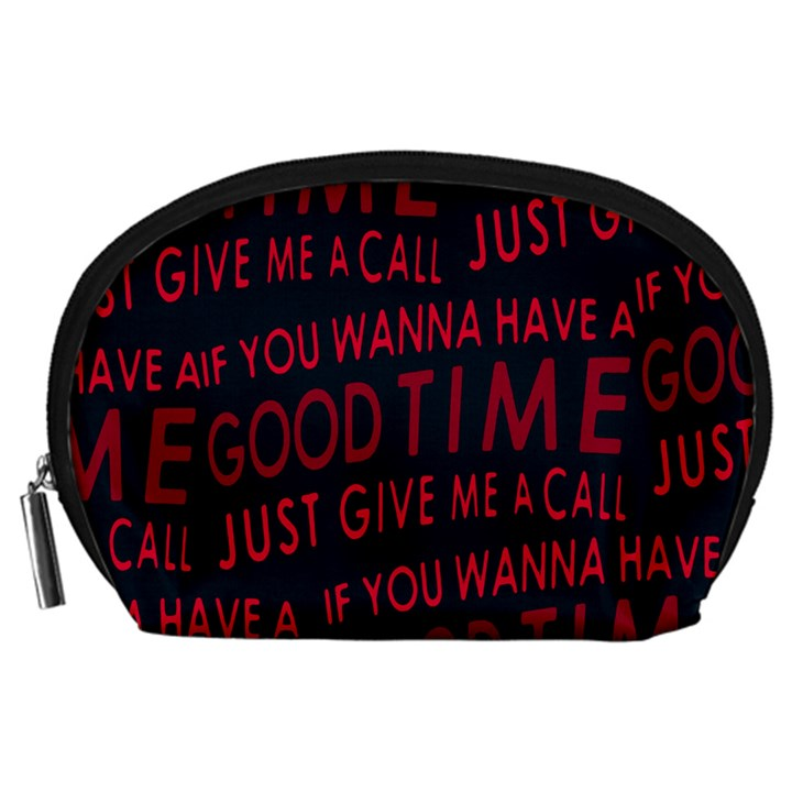 Motivational Phrase Motif Typographic Collage Pattern Accessory Pouch (Large)