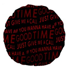 Motivational Phrase Motif Typographic Collage Pattern Large 18  Premium Flano Round Cushions