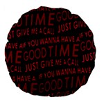 Motivational Phrase Motif Typographic Collage Pattern Large 18  Premium Flano Round Cushions Back