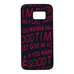 Motivational Phrase Motif Typographic Collage Pattern Samsung Galaxy S7 Black Seamless Case