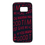 Motivational Phrase Motif Typographic Collage Pattern Samsung Galaxy S7 Black Seamless Case Front