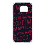 Motivational Phrase Motif Typographic Collage Pattern Samsung Galaxy S7 edge White Seamless Case Front