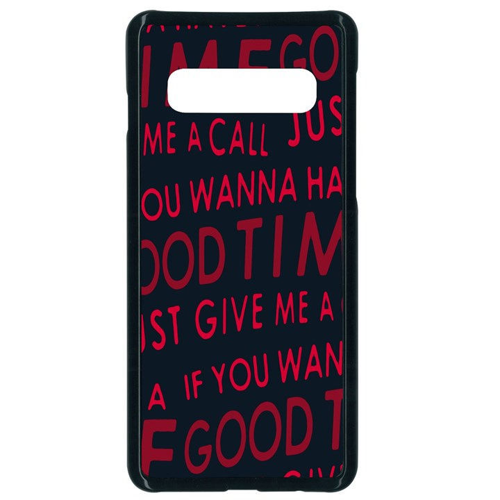 Motivational Phrase Motif Typographic Collage Pattern Samsung Galaxy S10 Seamless Case(Black)