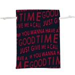 Motivational Phrase Motif Typographic Collage Pattern  Lightweight Drawstring Pouch (XL) Back