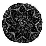 Black And White Pattern Large 18  Premium Flano Round Cushions Back