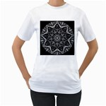 Black And White Pattern Women s T-Shirt (White) (Two Sided) Front