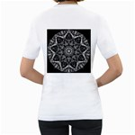 Black And White Pattern Women s T-Shirt (White) (Two Sided) Back