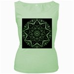 Black And White Pattern Women s Green Tank Top Front