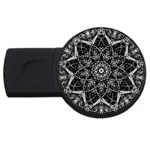 Black And White Pattern USB Flash Drive Round (2 GB) Front