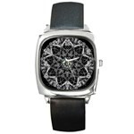 Black And White Pattern Square Metal Watch Front