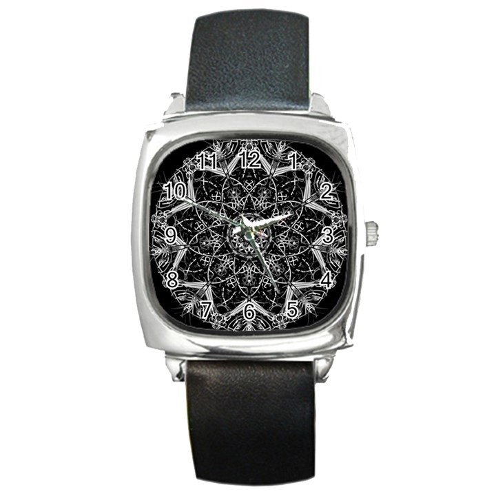 Black And White Pattern Square Metal Watch