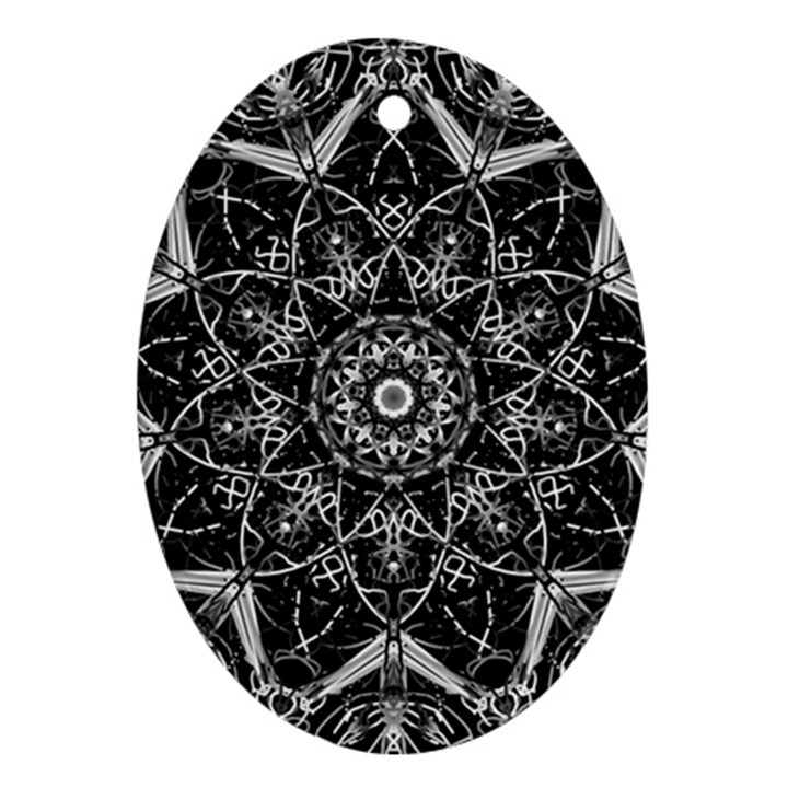 Black And White Pattern Oval Ornament (Two Sides)