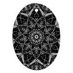 Black And White Pattern Oval Ornament (Two Sides) Back