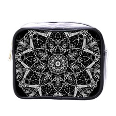 Black And White Pattern Mini Toiletries Bag (one Side)