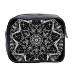 Black And White Pattern Mini Toiletries Bag (Two Sides) Back