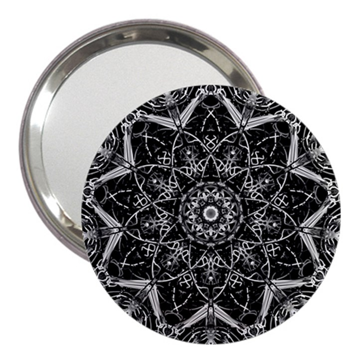 Black And White Pattern 3  Handbag Mirrors