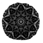 Black And White Pattern Large 18  Premium Round Cushions Back