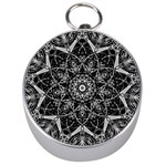 Black And White Pattern Silver Compasses Front