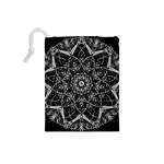 Black And White Pattern Drawstring Pouch (Small) Back