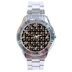 Robin Art Black Pattern Stainless Steel Analogue Watch