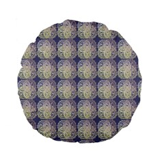 Doily Only Pattern Blue Standard 15  Premium Flano Round Cushions