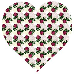Doily Rose Pattern White Wooden Puzzle Heart