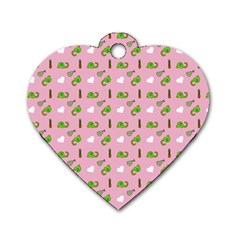 Green Elephant Pattern Pink Dog Tag Heart (one Side)