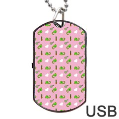 Green Elephant Pattern Pink Dog Tag Usb Flash (two Sides)