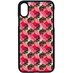 Doily Rose Pattern Watermelon Pink Iphone X Seamless Case (black)