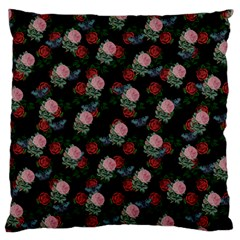 Dark Floral Butterfly Black Large Flano Cushion Case (one Side)