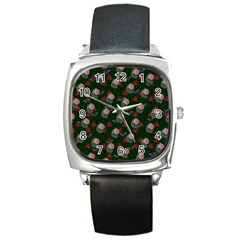 Dark Floral Butterfly Green Square Metal Watch