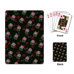Dark Floral Butterfly Green Playing Cards Single Design (rectangle)
