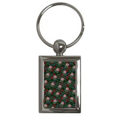Dark Floral Butterfly Teal Bats Lip Green Key Chain (rectangle)