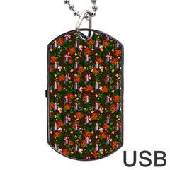 Fiola Pattern Brown Dog Tag Usb Flash (two Sides)