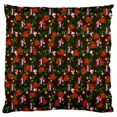 Fiola Pattern Brown Large Cushion Case (two Sides) by snowwhitegirl