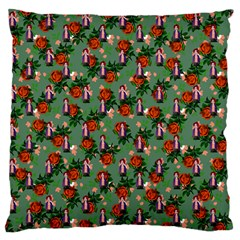 Fiola Pattern Green Large Flano Cushion Case (two Sides)