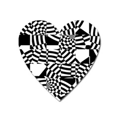 Black And White Crazy Pattern Heart Magnet by Sobalvarro