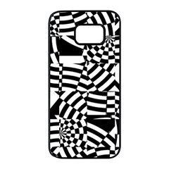 Black And White Crazy Pattern Samsung Galaxy S7 Edge Black Seamless Case by Sobalvarro