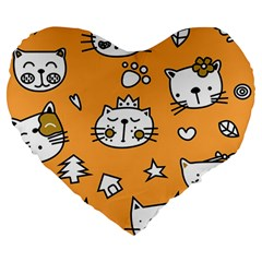 Cute Simple Orange Cat Seamless Pattern Large 19  Premium Heart Shape Cushions by Sobalvarro