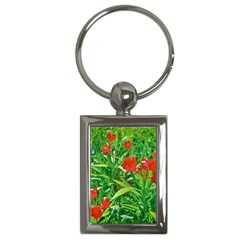 Red Flowers And Green Plants At Outdoor Garden Key Chain (rectangle) by dflcprintsclothing