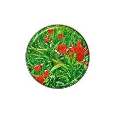 Red Flowers And Green Plants At Outdoor Garden Hat Clip Ball Marker by dflcprintsclothing