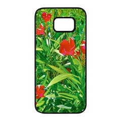 Red Flowers And Green Plants At Outdoor Garden Samsung Galaxy S7 Edge Black Seamless Case by dflcprintsclothing