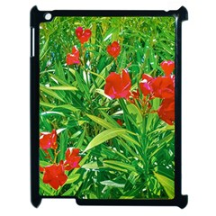 Red Flowers And Green Plants At Outdoor Garden Apple Ipad 2 Case (black) by dflcprintsclothing