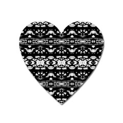 Black And White Modern Ornate Stripes Design Heart Magnet by dflcprintsclothing