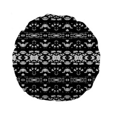 Black And White Modern Ornate Stripes Design Standard 15  Premium Flano Round Cushions by dflcprintsclothing