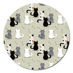 Cute Cat Seamless Pattern Magnet 5  (round)