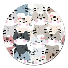 Cute Cat Couple Seamless Pattern Cartoon Magnet 5  (round)